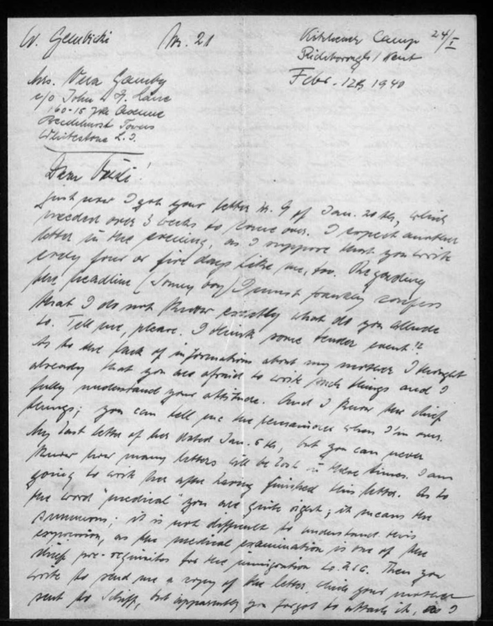 Richborough camp, Werner Gembicki, Letter, You can never know how many letters will be lost in these times, I am going to work here after I have finished writing, 12 February 1940, page 1