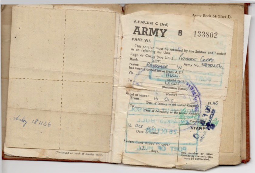 Kitchener camp, Willi Reissner, Army Book 64, Soldier's Service Pay Book, Pioneer Corps, Richborough, Army number 13800256, Leave granted via Hull to Leeds, pages 5 and 6