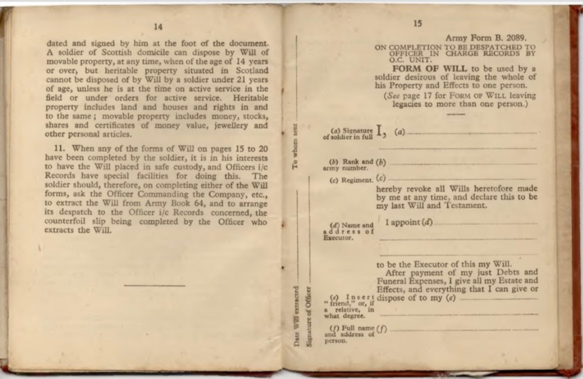 Kitchener camp, Willi Reissner, Army Book 64, Soldier's Service Pay Book, Pioneer Corps, Richborough, Wills - notes, Army Form B 2089 Will, pages 21 and 22