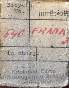 Kitchener Camp, Bicycle number 596, Josef Frank