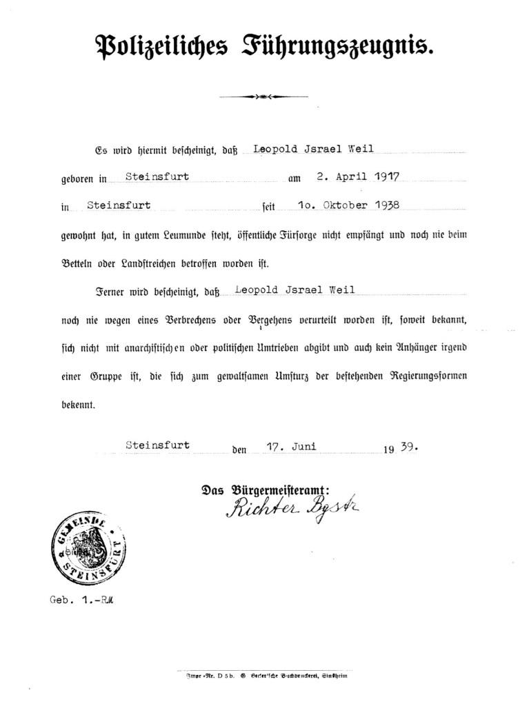 Richborough refugee camp, Leopold Weil, Police certificate, 10 October 1938, Stamped 17 June 1939