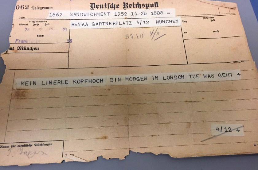 Kitchener camp, Hermann Renkazischock, Telegramm, 28 June 1939