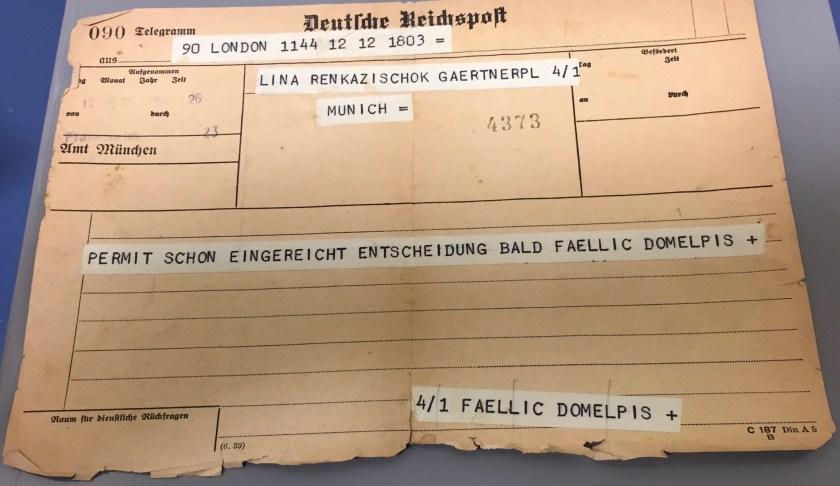 Kitchener camp, Hermann Renkazischock, Telegramm, 12 July 1939
