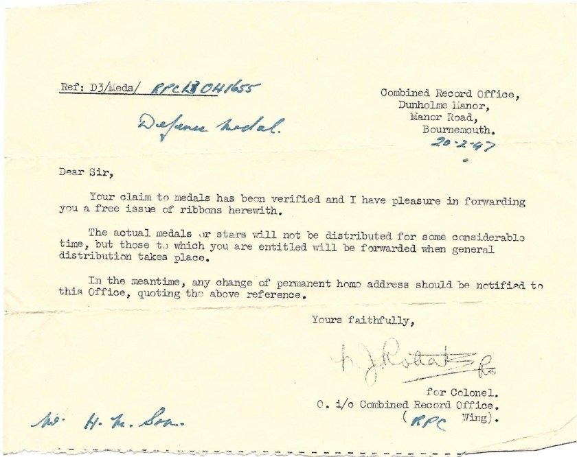 Kitchener camp, Max Israelsohn, Defense Medal, 20 February 1947