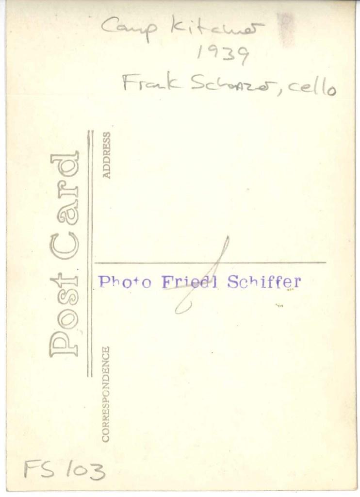 Kitchener camp, Richborough, Franz Schanzer, With cello, reverse