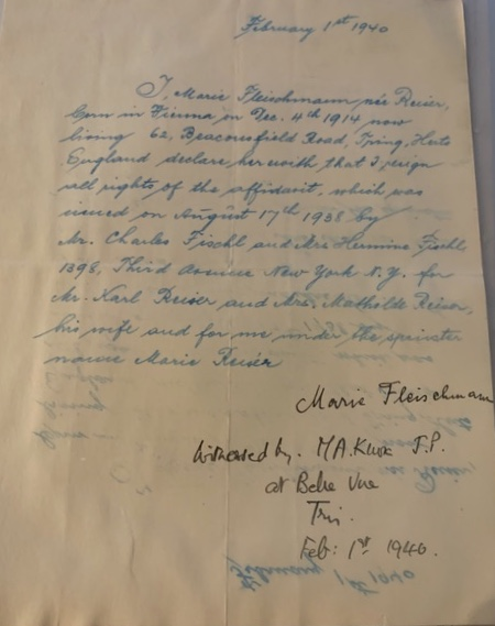 Kitchener camp, Karl Reiser, Letter, Mathilde Reiser, Letter, Affidavit, 1 February 1940