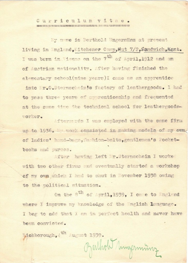 Kitchener camp, Berthold Ungermunz, Hut 7/II Austrian, Technical school, Arrival in Britain 8th April 1939, Letter, 4th August 1939