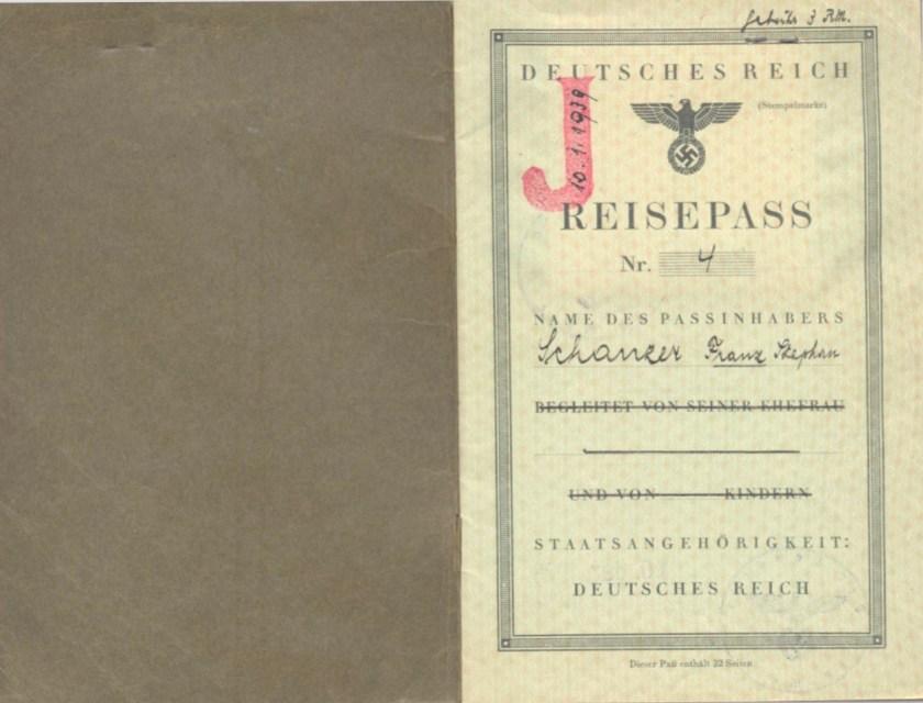 Kitchener camp, Frank Schanzer, German passport, J stamped 10 January 1939,