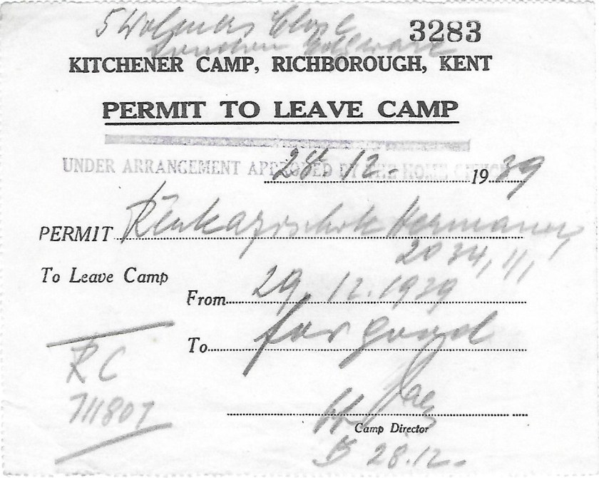 Kitchener camp, Hermann Renkazischock, 28 February 1939, Permit to Leave Camp, 29 December 1939, For good, Home Office number 711807