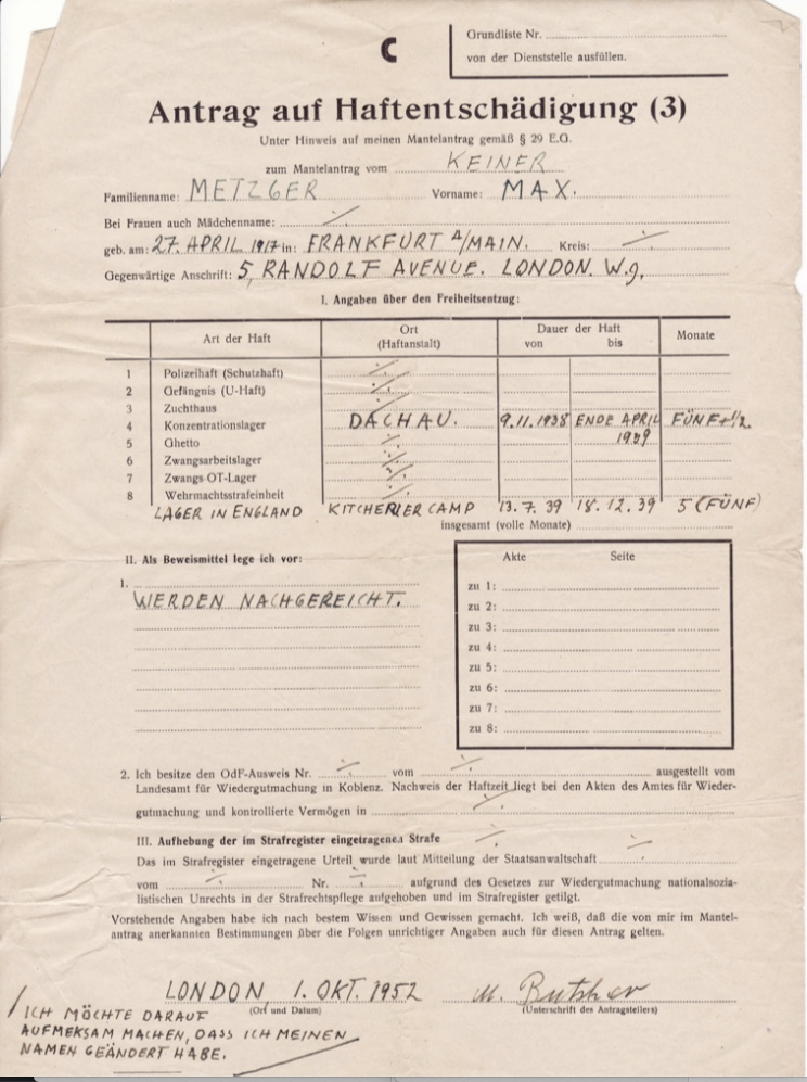 """Kitchener camp, Richborough, Max Metzger, ITS Documents from the Wiener Library, """"Lager (camp) in England"""" from 13 July 1939 to 18 December 1939"""