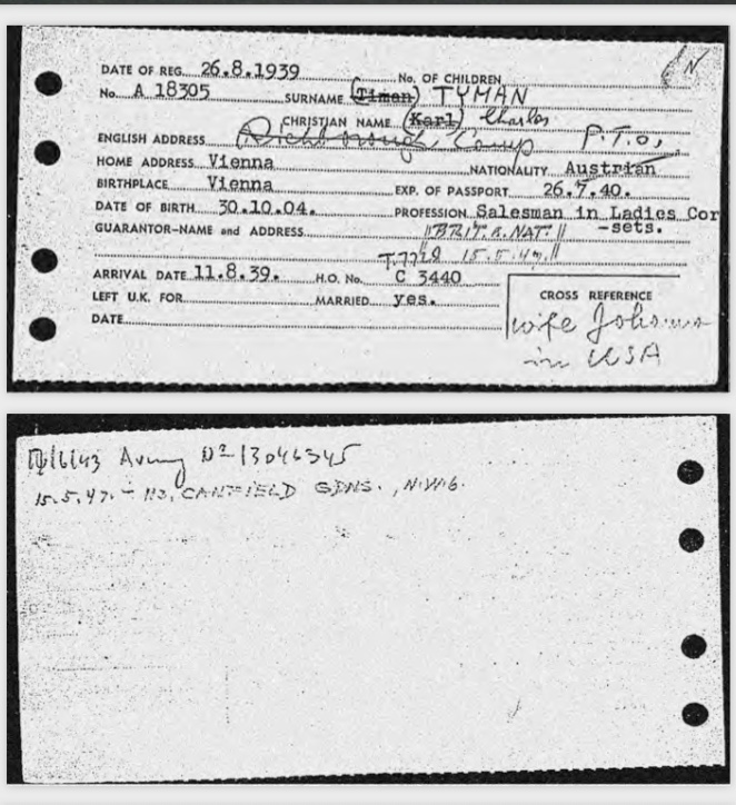 Kitchener camp, Karl Timan, German Jewish Aid Committee, Arrival in Britain card, Wife in USA, Army number