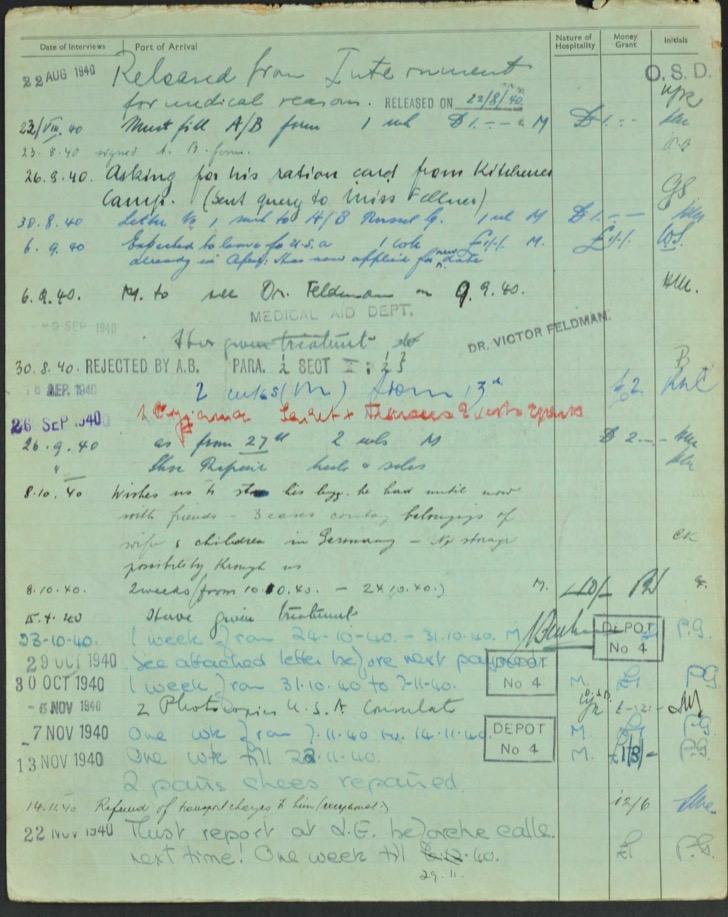 Kitchener camp, Lieb Lazar, German Jewish Aid Committee green form, page 2