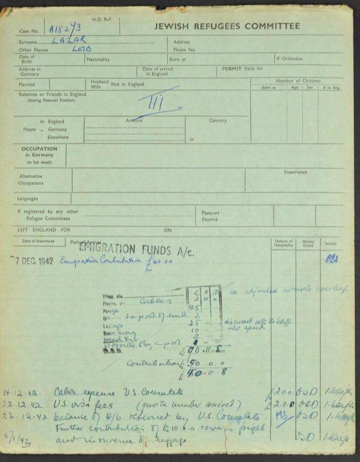 Kitchener camp, Lieb Lazar, German Jewish Aid Committee green form, 1942-1943, page 1