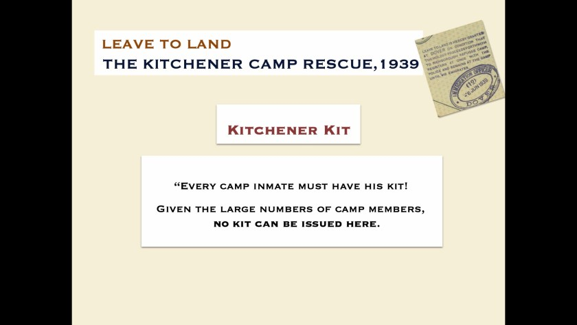 Kitchener camp kit - digital slides from the Leave to Land exhibition, 2019