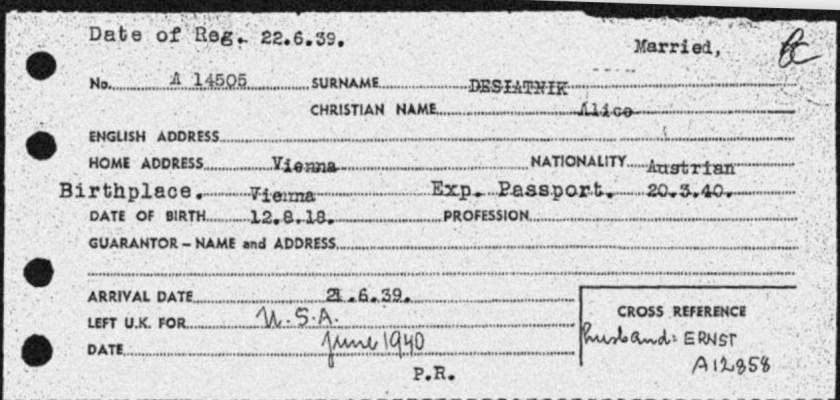 Kitchener camp, Ernst Desiatnik, Alice Desiatnik, Arrival card, Arrival date 21 Junel 1939, Left for USA June 1940