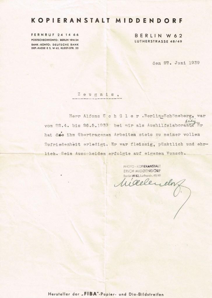 Kitchener camp, Alfons Schueler, Letter, Kopieranstalt Middendorf, Berlin, Zeugnis, 27 June 1939