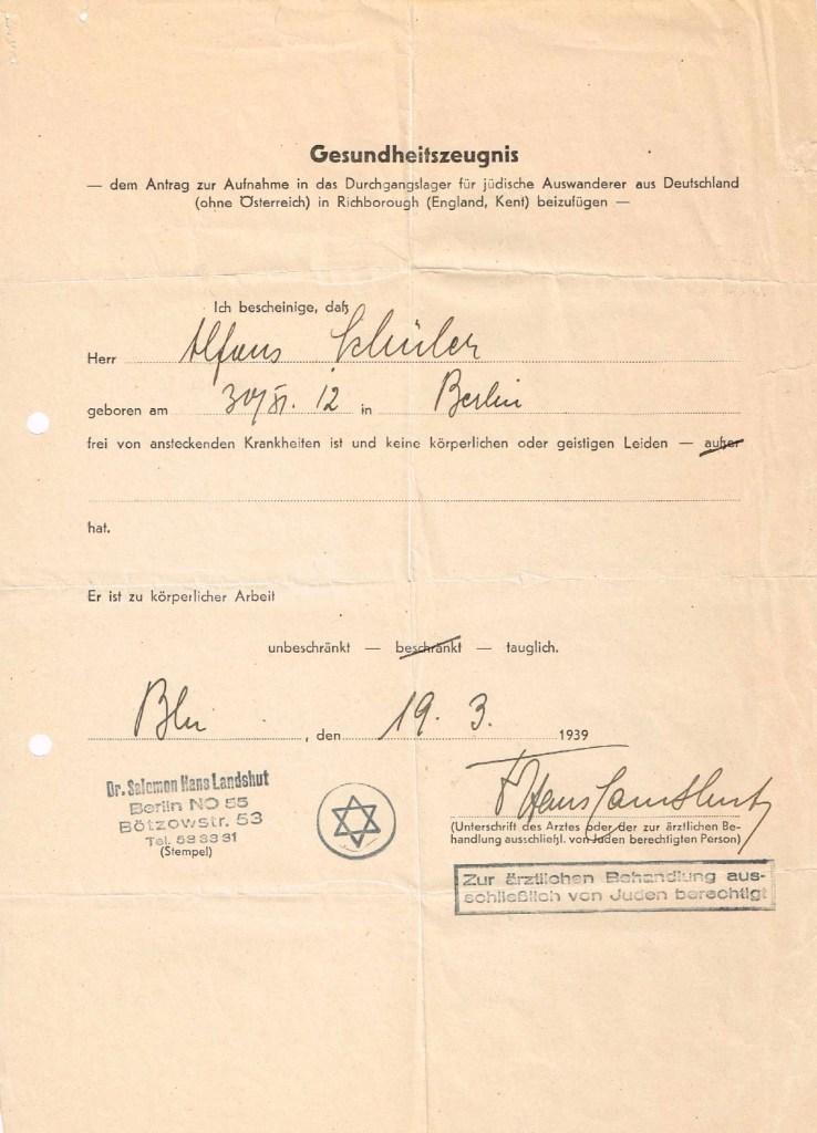 Kitchener camp, Alfons Schueler, Health Certificate, Gesundheitszeugnis, 19 March 1939