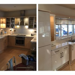 Kitchen Experts Wooden Cart Sheffield Facelifts In This Chapeltown We Have Replaced The Old Dated Beech Style Doors With A More Modern Ultra Gloss Ivory Acrylic Door