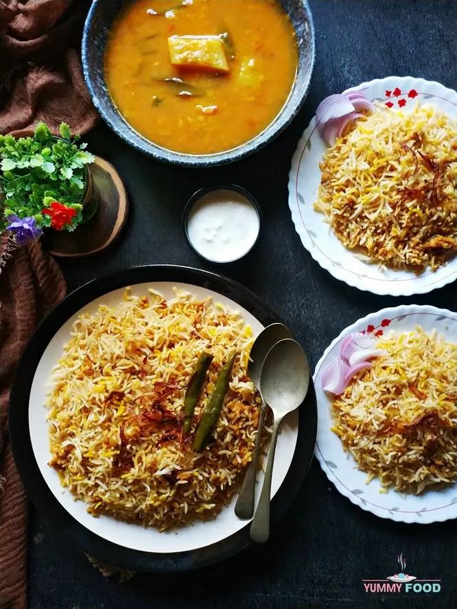 food styling of hyderabadi qubooli biryani