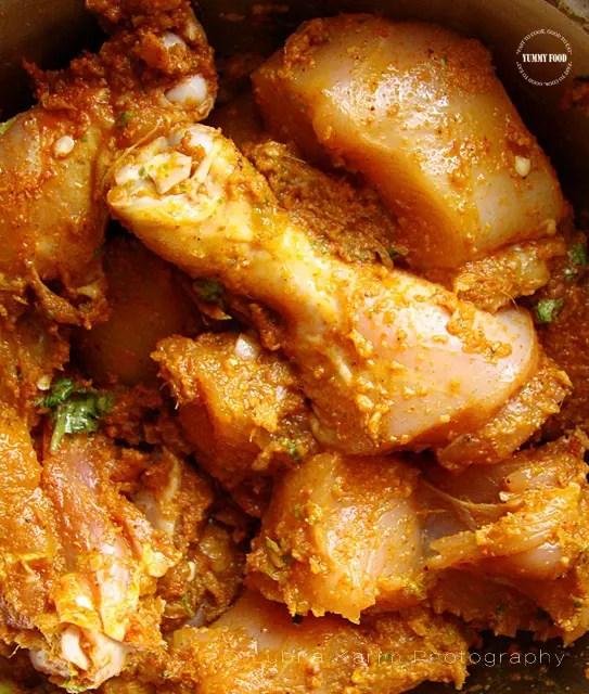 Marination for Hyderabadi Style Kachi Murg Dum Biryani