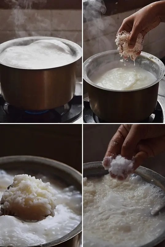 boil milk and add washed sago and rice