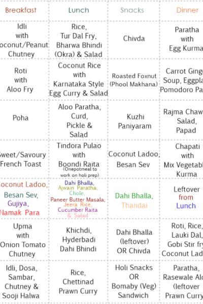 Week 9 – Weekly Menu Planner by Priti of 'Indian Khana'