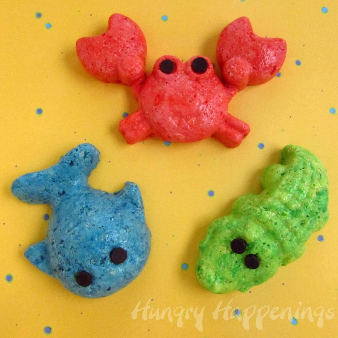 Rice Krispie Animal Treats made with Beach Molds...such a fun Summer party idea!
