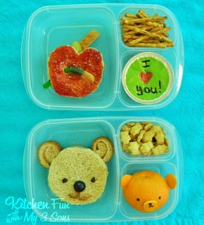 Easy Apple & Bear Bento School Lunches