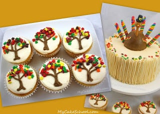 Autumn Cupcakes and Cake