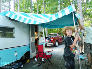 setting up the awning