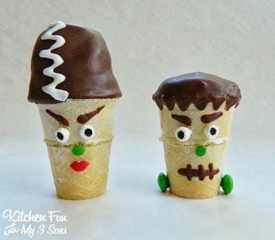 Frankenstein & His Bride Mini Cake Pop Cones