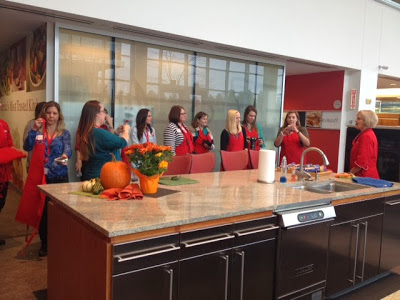 We were grouped up & instructed to make something using 5 ingredients in the Pillsbury test kitchen. Here we all are getting our instructions