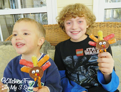 Here is my 3 & 10 year old with their Turkey Pretzel Treats
