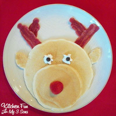 Rudolph the Red Nose Reindeer Pancakes for a fun Christmas Breakfast from KitchenFunWithMy3Sons.com
