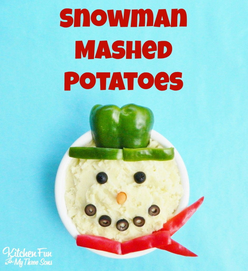 Snowman Mashed Potatoes for a Christmas Dinner