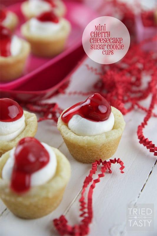 Mini Cherry Cheesecake Sugar Cookie Cups