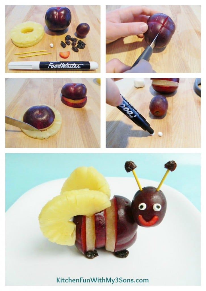 Spring Bumble Bee Fruit Snack...a healthy fun food idea for kids from KitchenFunWithMy3Sons.com