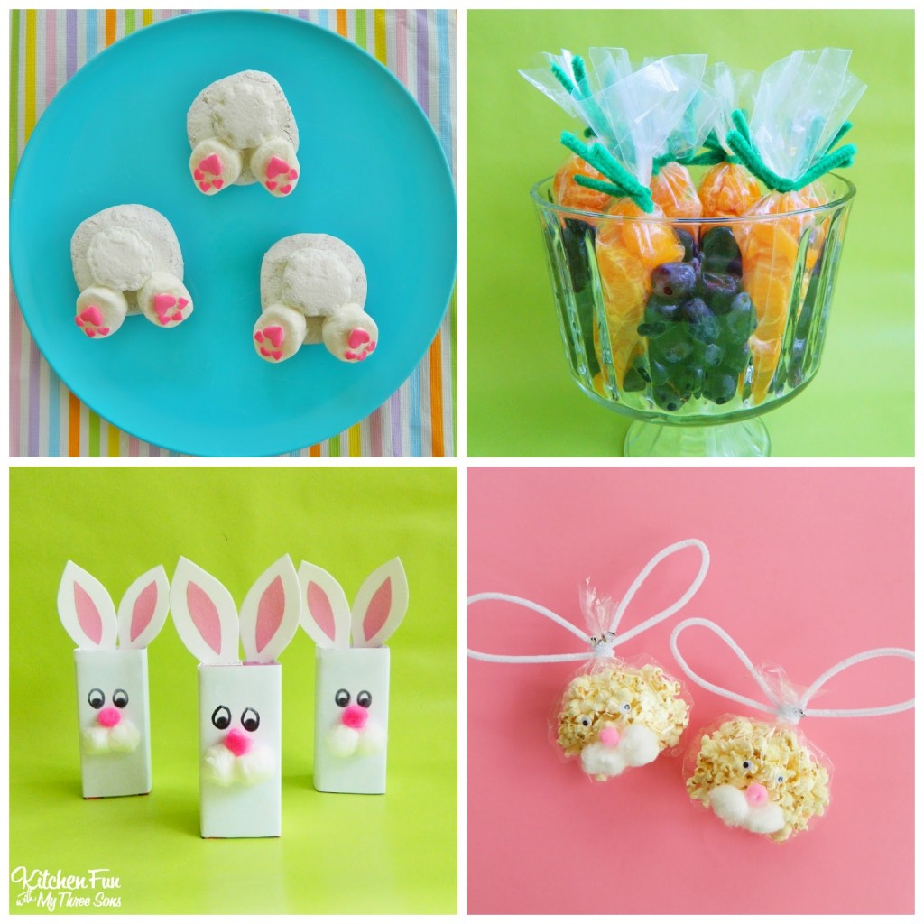 Preschool Easter Party with Bunny Butt Donuts, Fruit Carrots, Bunny Juice Boxes, and Bunny Popcorn Bags! KitchenFunWithMy3Sons.com