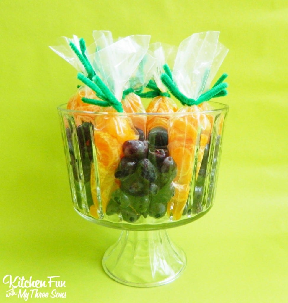 Fruit Carrots in Grape Dirt Snack for a Preschool Easter Party! KitchenFunWithMy3Sons.com