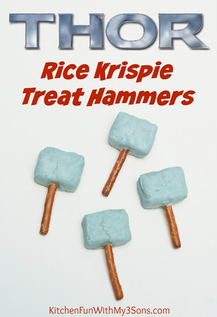 Easy THOR Rice Krispie Treats & The Avengers Party from KitchenFunWithMy3Sons.com