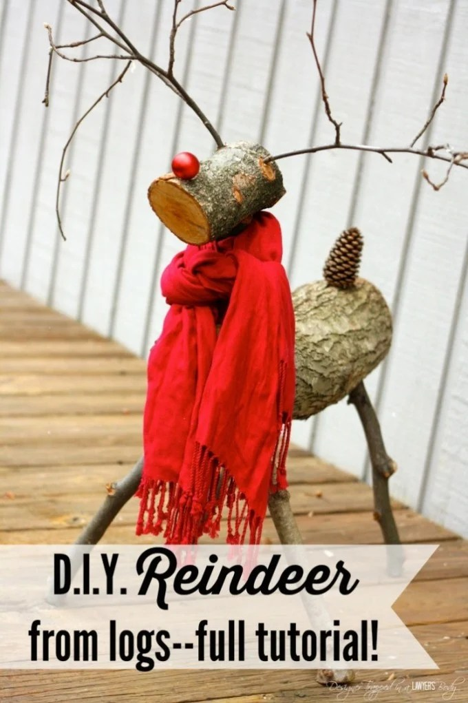 DIY Reindeer logs for a fun Christmas outdoor decoration