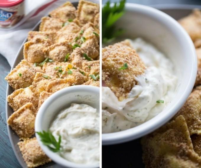 Almond Crusted Baked Ravioli