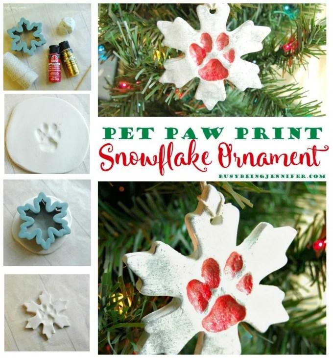 DIY Pet Paw Snowflake Ornament for Christmas