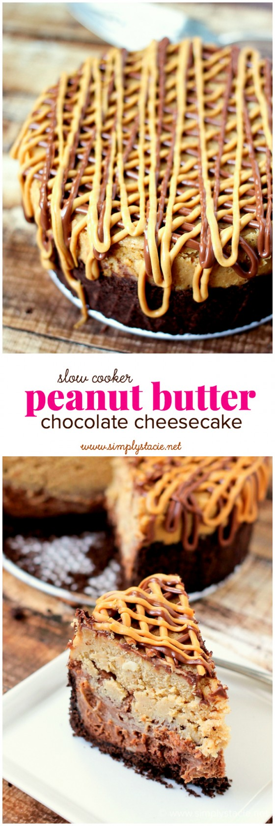 Slow Cooker Peanut Butter & Chocolate Cheesecake