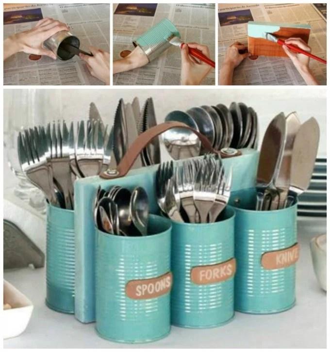 DIY Tin Can Utensil Caddy