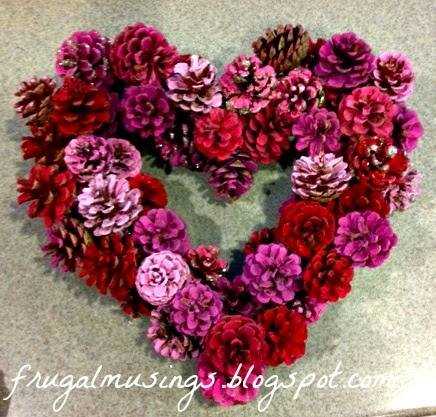 Valentine Heart Pine Cone Wreath