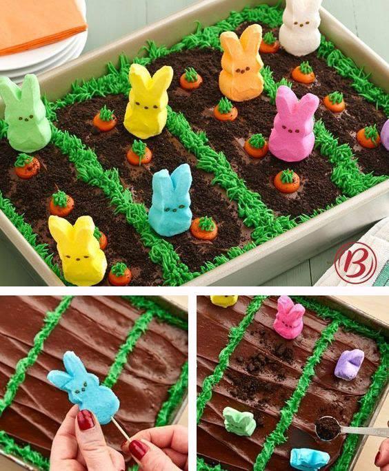 Easter Peeps Garden Cake