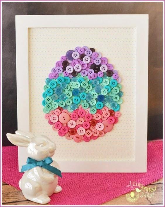 DIY Easter Egg Button Art Craft