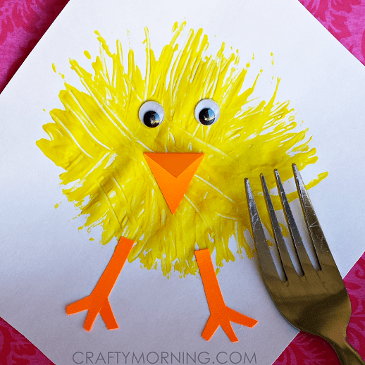 Make a Chick Craft using a Fork...a fun Easter craft for the Kids to make!