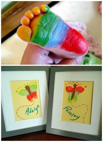 Rainbow Butterfly Footprint Art